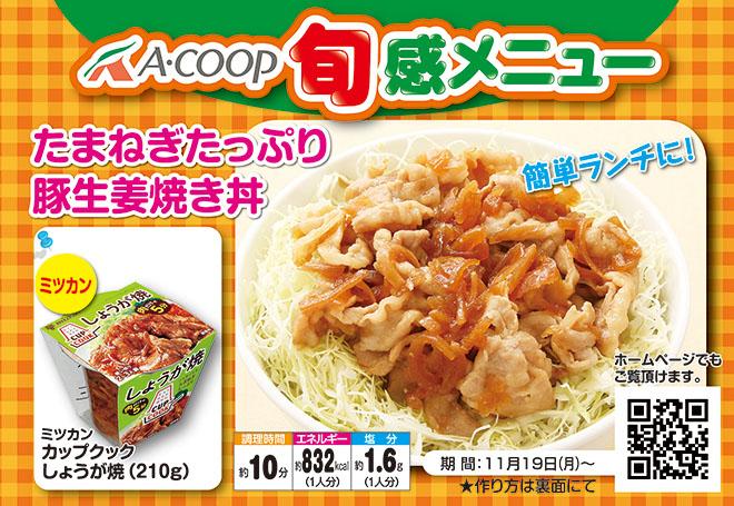 たまねぎたっぷり豚生姜焼き丼
